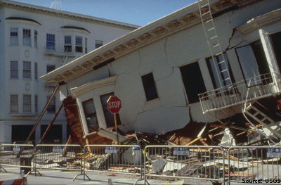 Liquefaction of a building in the San Francisco Marina District